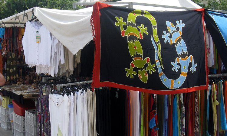 Sarongs at Mahon market in Menorca