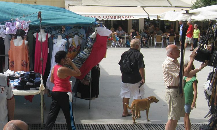 Clothing and handbags at Mahon market